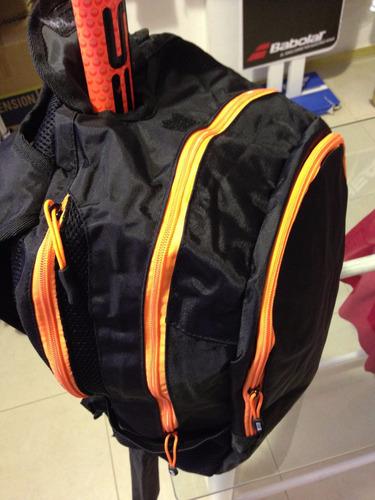 mochila hockey reves porta palos funda bolso negro y naranja