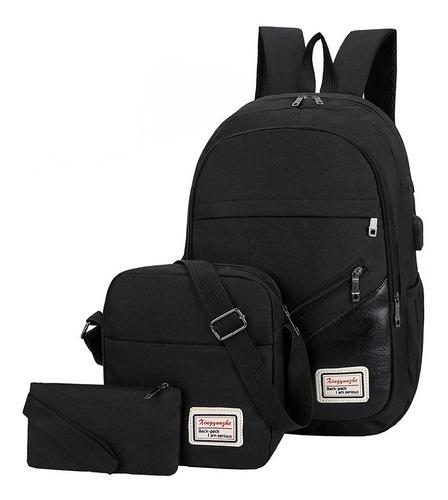 mochila hombre carga usb 3pzs regalo cable+puerto audifonos