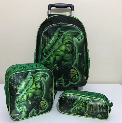 mochila hulk super carrinho rodinhas lancheira vingadores