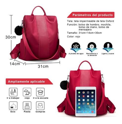 mochila impermeable de nylon antirrobo para mujeres