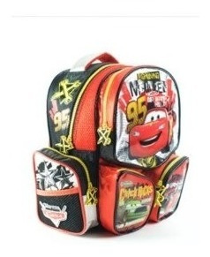 mochila infantil cars rayo mc queen 6 bolsillos 33 x 24 cm