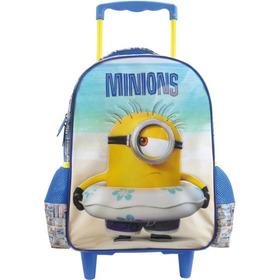 Mochila Infantil De Rodinhas Minions Azul 14 Paradise Xeryus