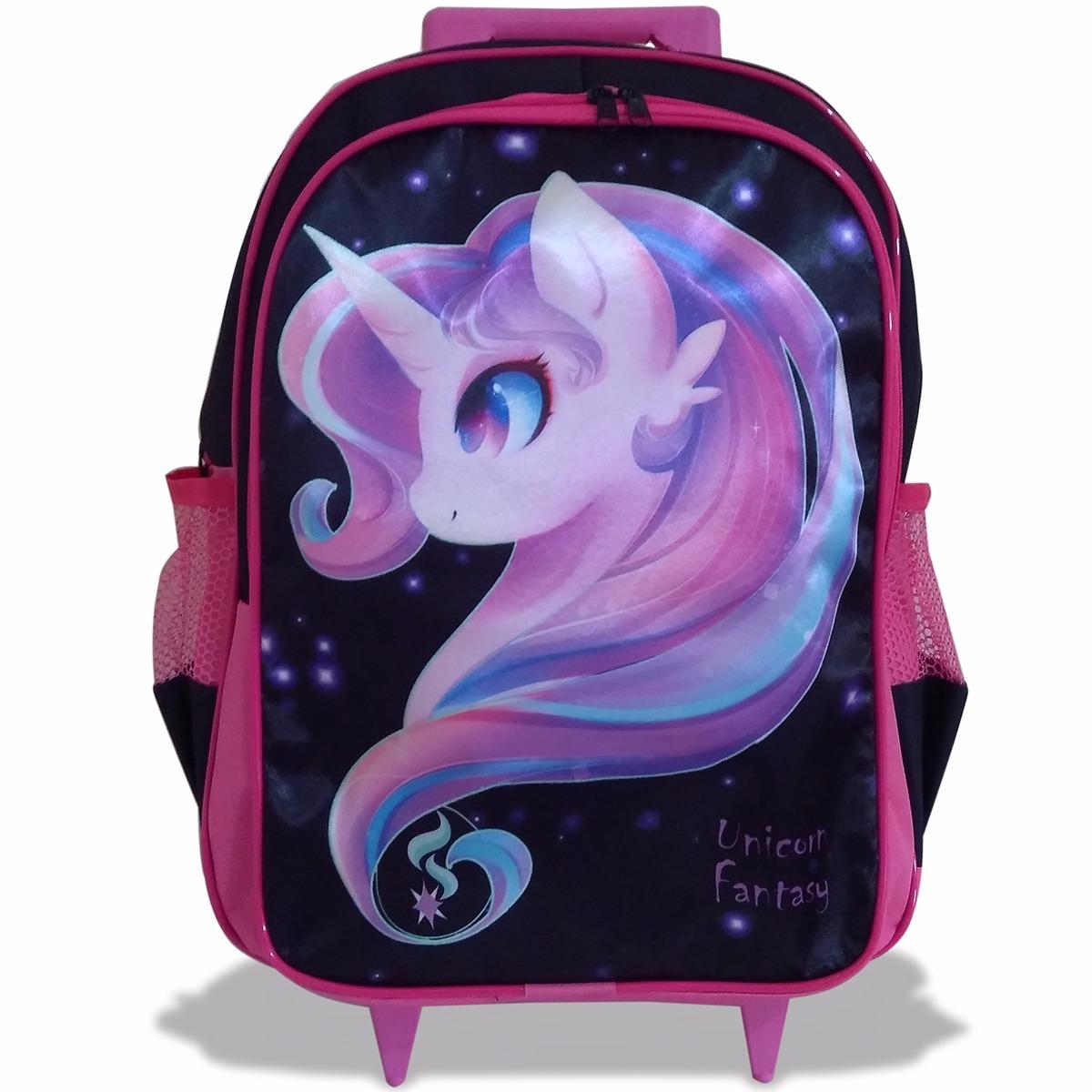 31d1a6462 mochila infantil de rodinhas unicórnio fantasy. Carregando zoom.