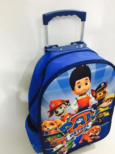 mochila infantil escolar carrinho patrulha canina tam g- kit