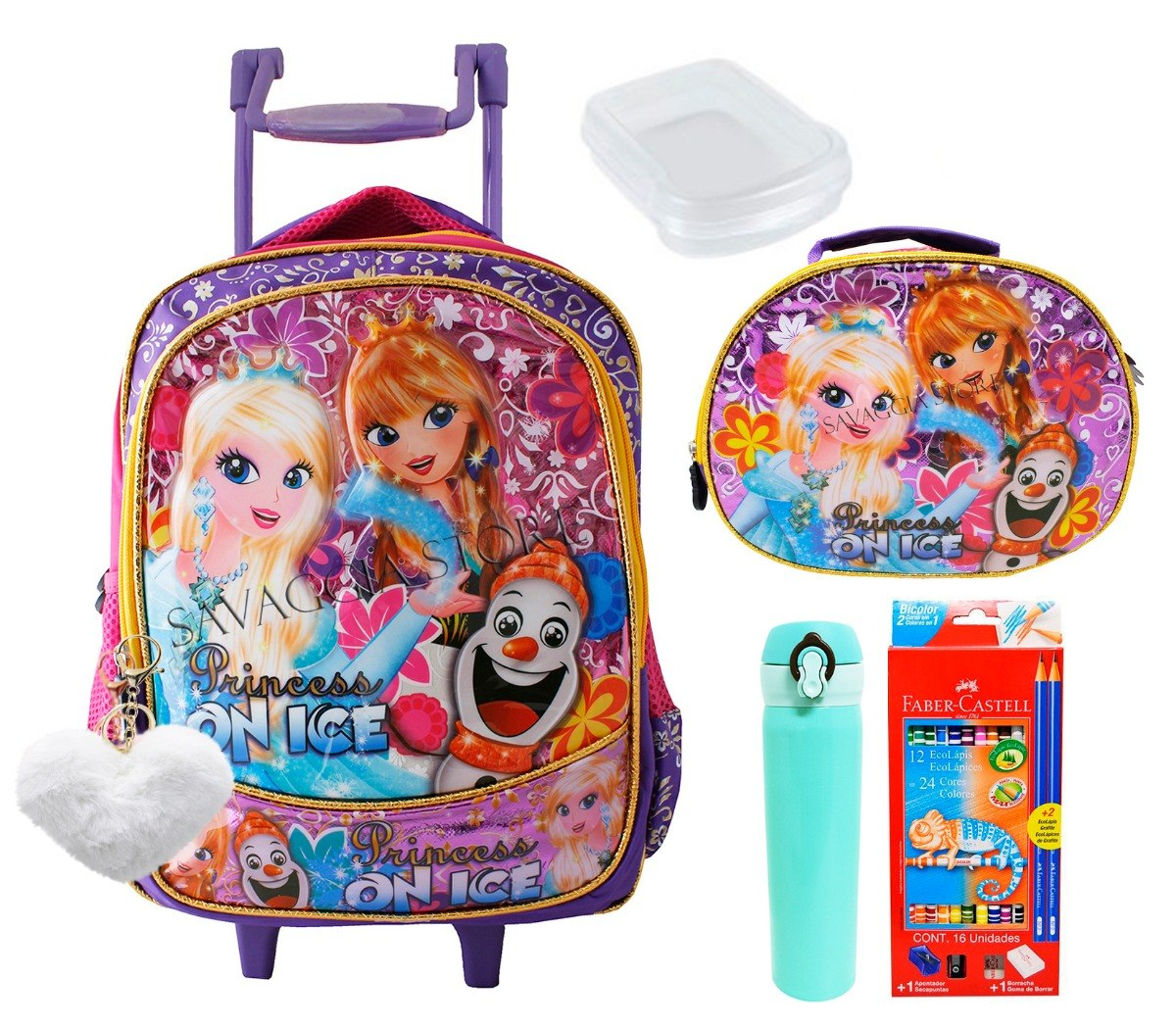 efa1f0e97 mochila infantil escolar feminina rodinhas tipo frozen + kit. Carregando  zoom.