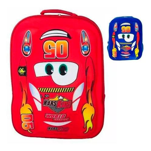 mochila infantil escolar masculina grande vermelha carros