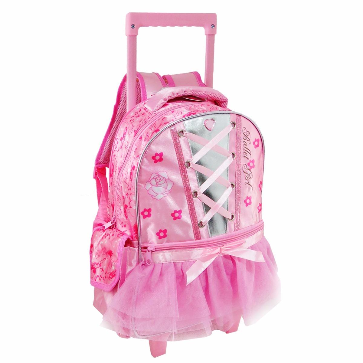 Bolsa Escolar Feminina Infantil : Mochila infantil feminina ballet com rodinhas r