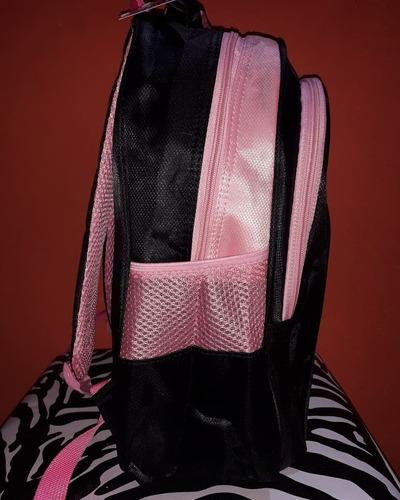 mochila infantil juvenil negro y rosa