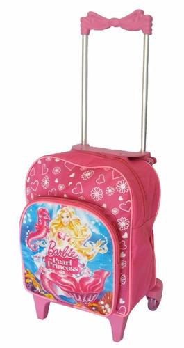mochila infantil meninas barbie com rodinhas escolar linda