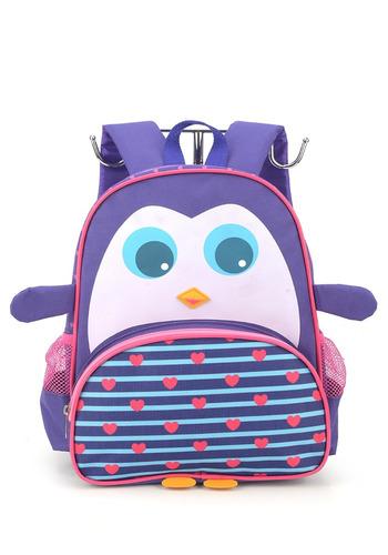 mochila  infantil para creche detalhe em 3d pinguim  -32611