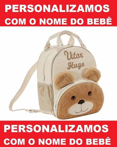 mochila infantil personalizada ursinho g + paninho naninha g