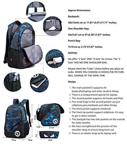 2 Sets Co Jiayou Boy 20L Fashion School Mochila con marca fluorescente 3 Sets