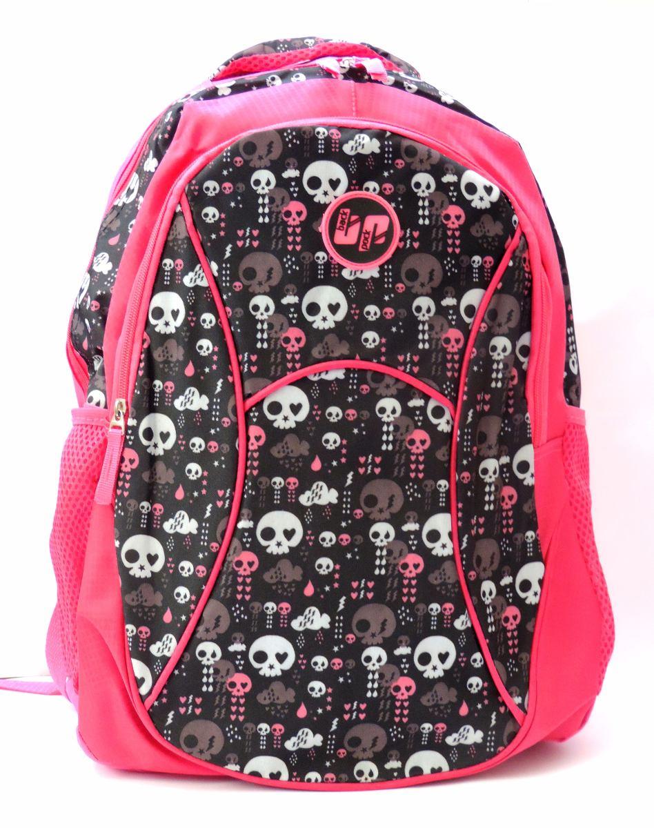 Bolsa Mochila Feminina Rosa : Mochila juvenil feminina costas caveirinhas caveira rosa