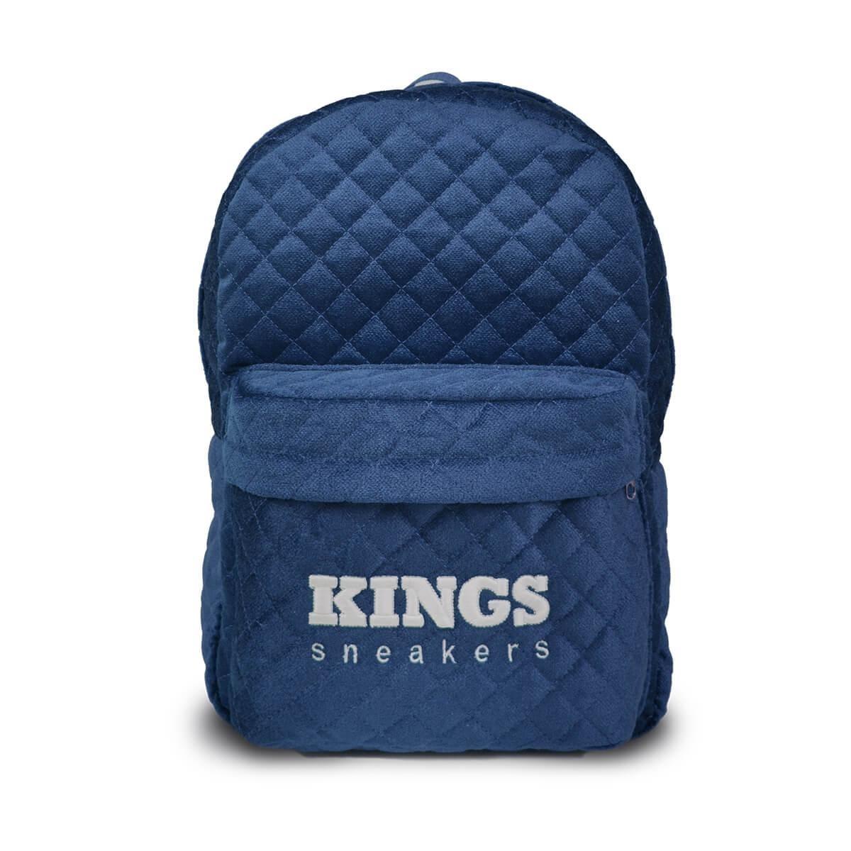 4aa7c5bb7fece0 Mochila Kings Sneakers Veludo Matelassê Azul Lançamento