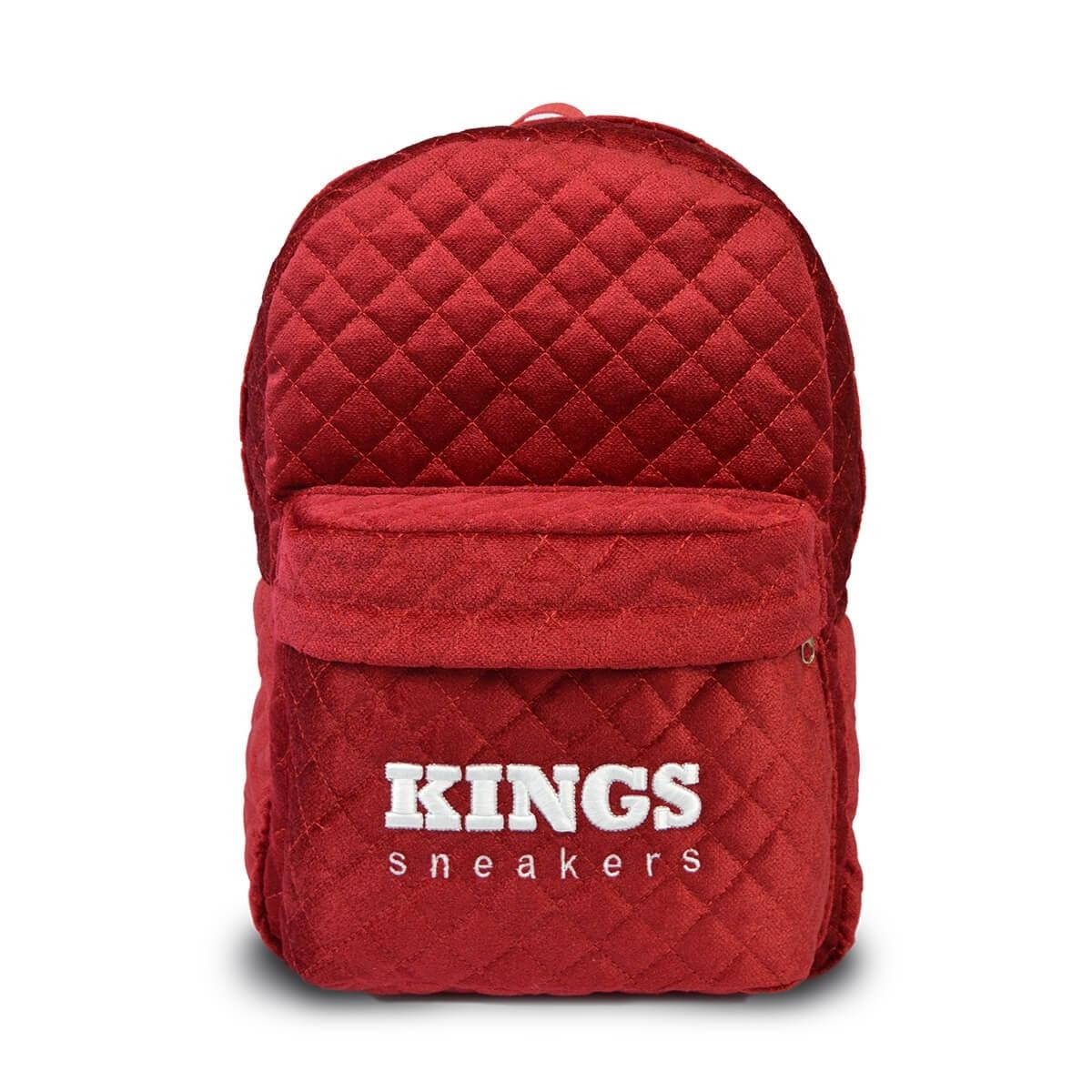 4aa5bb89d93a60 Mochila Kings Veludo Matelassê Vermelha