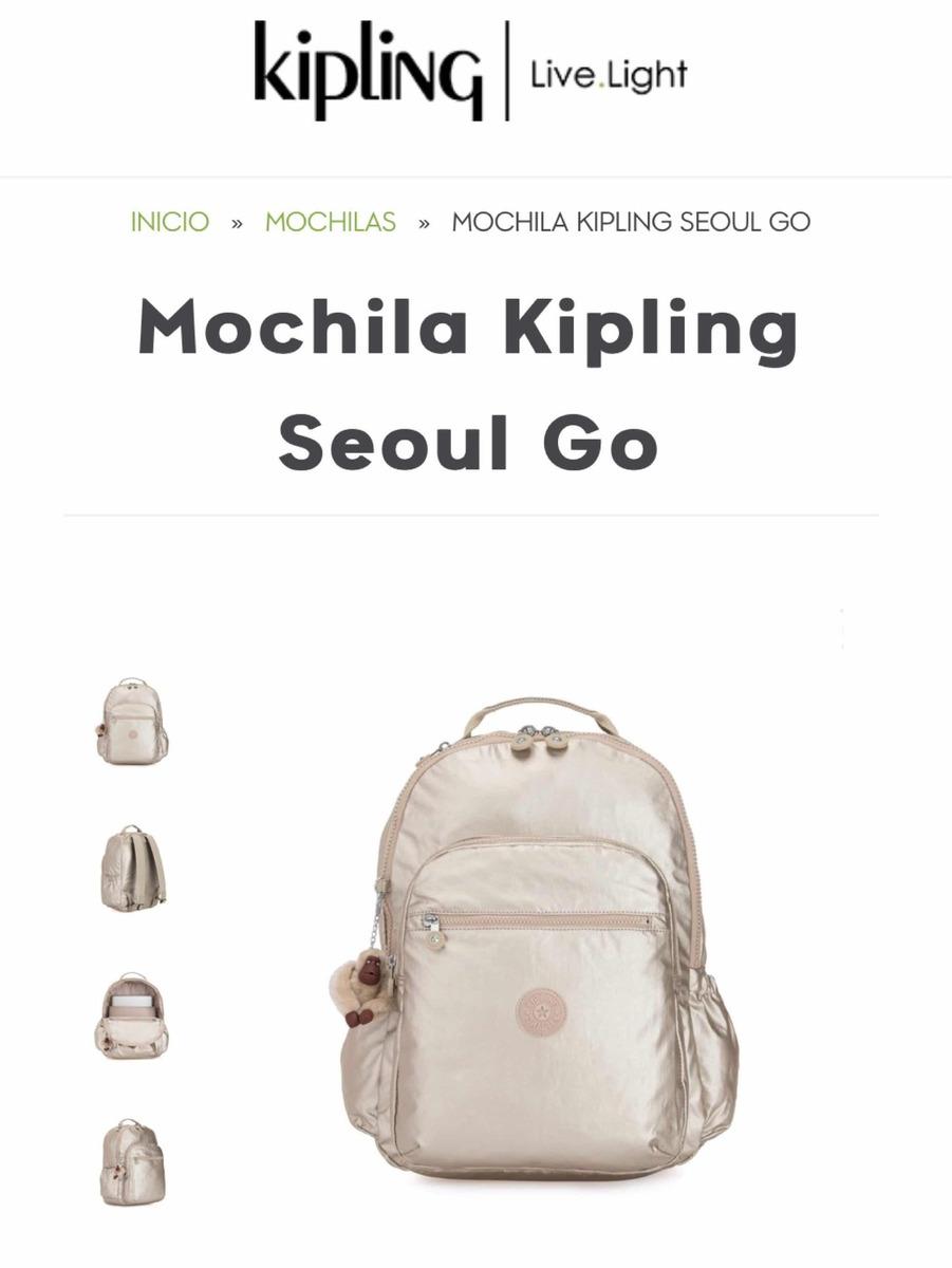 2763b16b4 Mochila Kipling Dorada - $ 2,000.00 en Mercado Libre