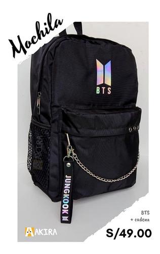 mochila kpop - bts con cadena - moda coreana