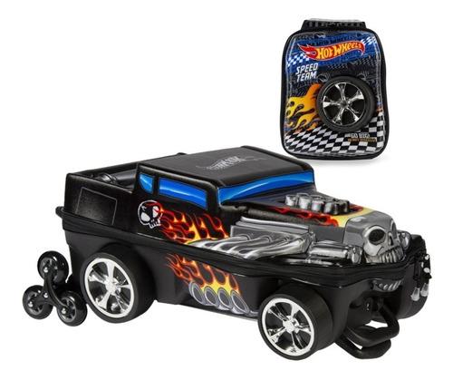 mochila + lancheira 3d max toy hot wheels bone shaker