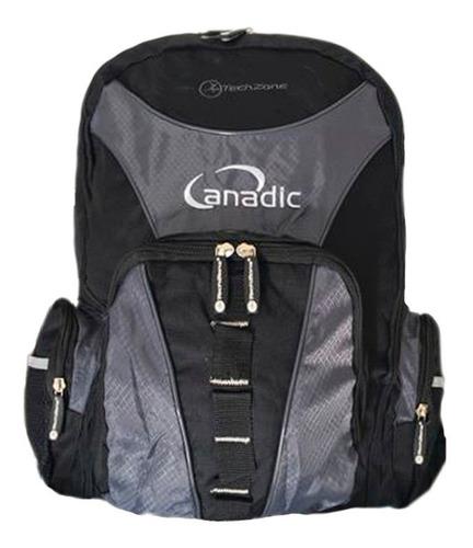 mochila laptop 14  y 15  tech zone con 6 bolsas y repelente!
