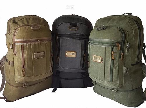 mochila lona camping  grande compartimento fundo falso