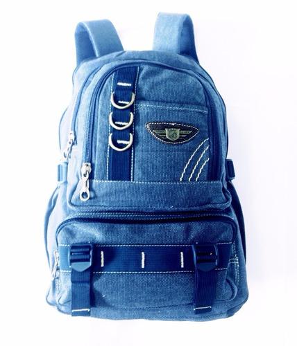 mochila lona escolar bolsa jeans livros masculina feminina
