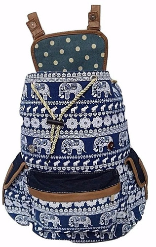 mochila lona feminina escolar notebook étnica elefante azul