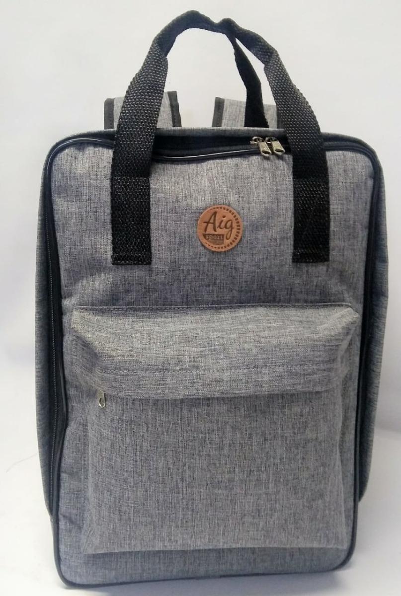 24ee83b8b mochila masculina casual luxo cinza com alça e bolsos aig. Carregando zoom.