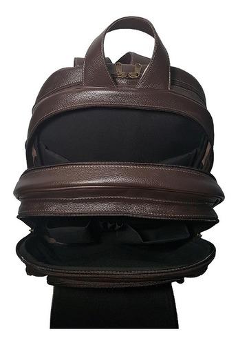 mochila masculina couro legítimo com suporte para notebook