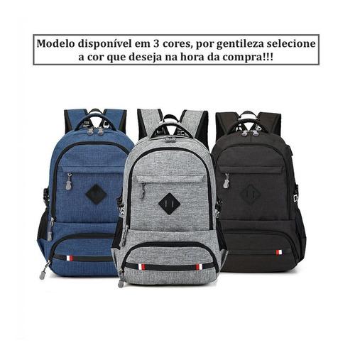 mochila masculina notebook 15.6 moderna com entrada usb 30l