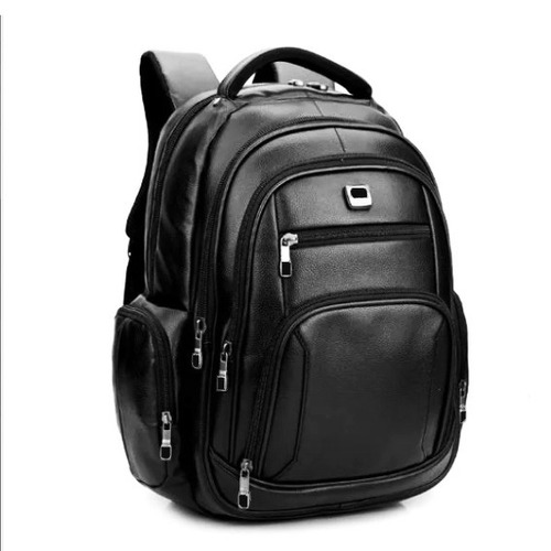 mochila masculina resistente água preta couro ecológico nova