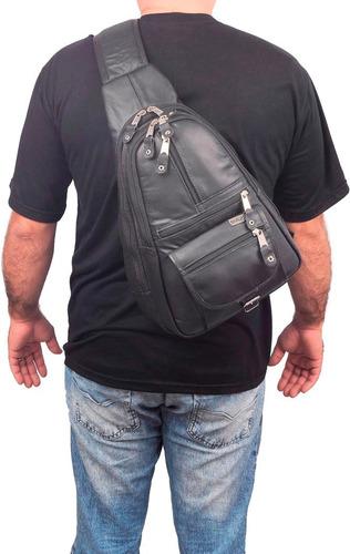 mochila masculina transversal em couro legitimo reforçado