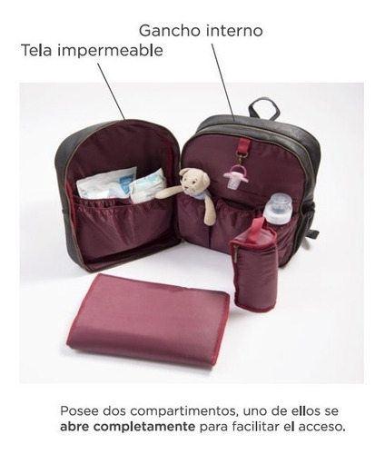 mochila maternal mommy bolso olivia ecocuero + cambiador