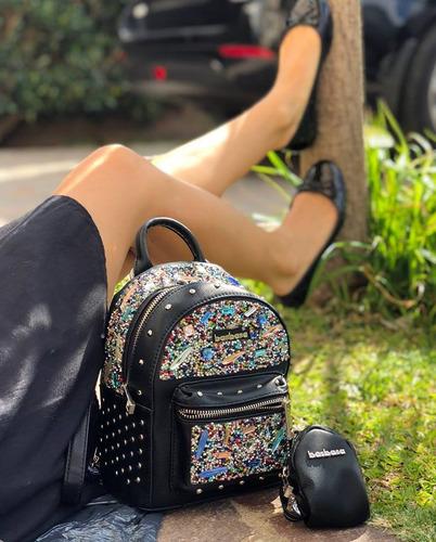 mochila mediana mujer barbara art: xu45 bolsillos tachas