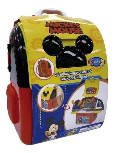 mochila mickey mouse y set de herramientas 2 en 1 disney
