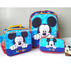 Mochila Mickie Mouse Con Loncherita Y Cartucherita De Espald