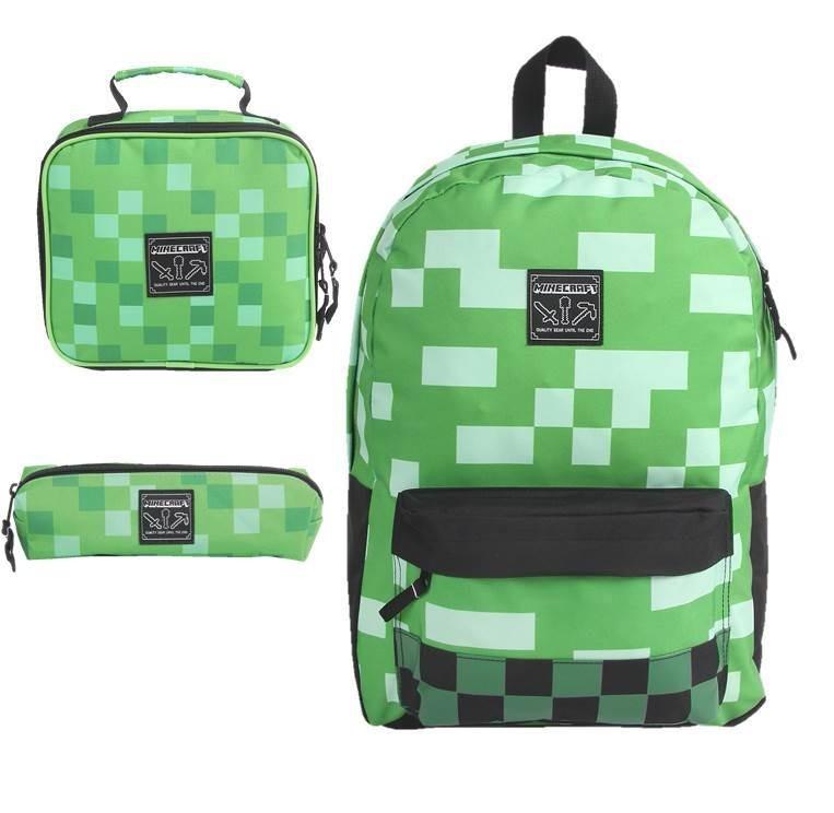 5c522c323 Mochila Minecraft Green Blocks + Lancheira + Estojo Dmw - R$ 368,90 em  Mercado Livre