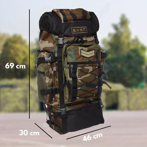 mochila mochilero 70 lts camuflada reforzada camping viaje