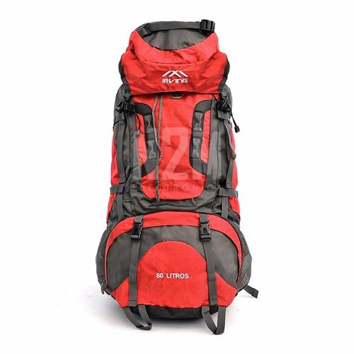 mochila mochilero camping 80 litros irving varillas cobertor