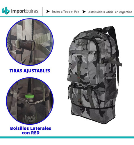 mochila mochilero camping campamento 55 + 5 litros viajes