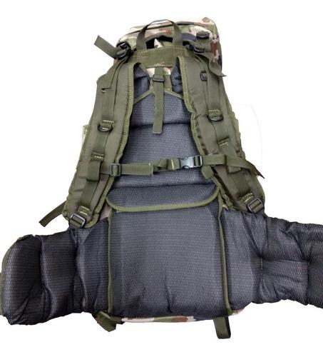 mochila mochilero cumbre 60 lts apertura frontal camuflada