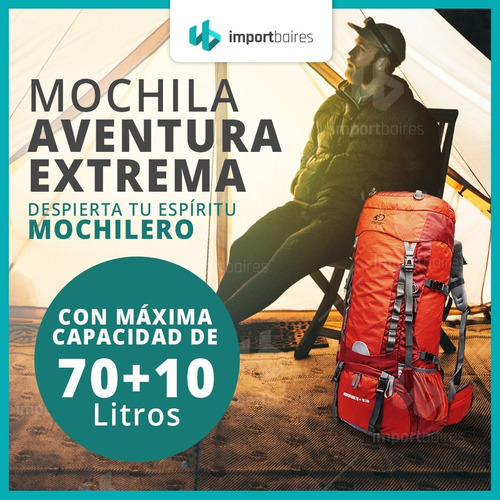 mochila mochilero discovery  70 lts varillas calidad premium