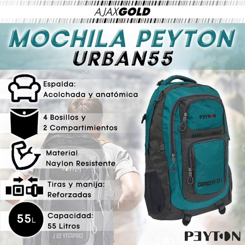 mochila mochilero peyton camping 55 litros deportiva premium