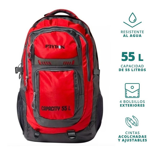mochila mochilero peyton mujer hombre camping 55lts