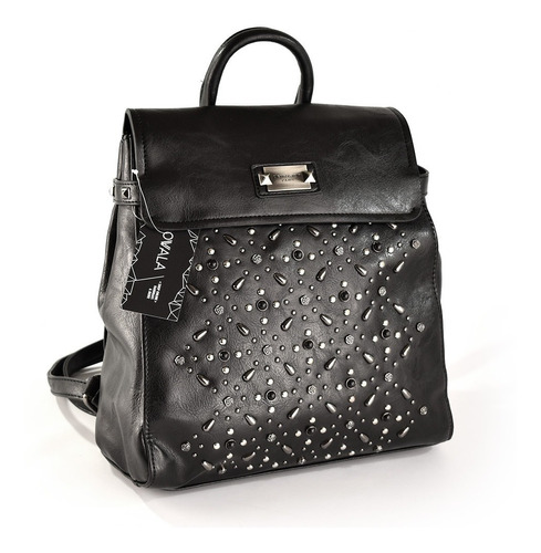 mochila mujer cuero sintético negra tachas plateadas mixtas