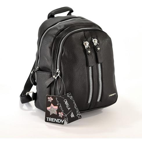 mochila mujer cuero sintetico urbana trendy negra original