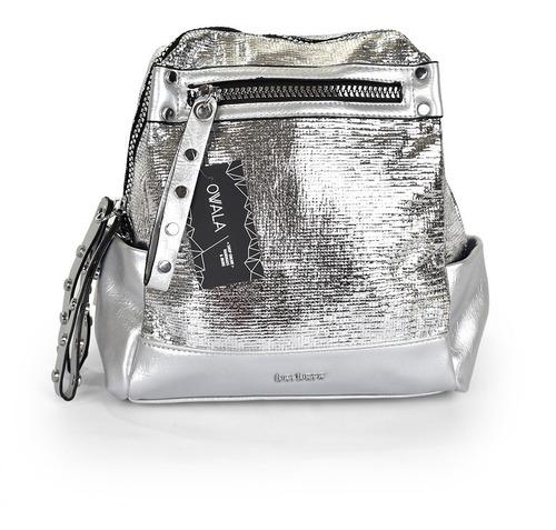 mochila mujer simil cuero bolsillos plateada barbara bags