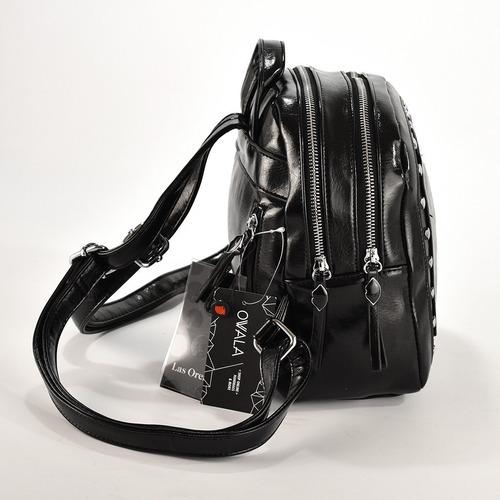 mochila mujer urbana cuero sintetico negra tachas