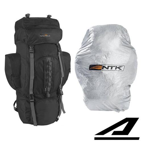 mochila nautika 80 litros camping + capa impermeável