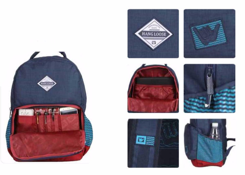 mochila notebook escolar tablet  hang loose oath bolso azul