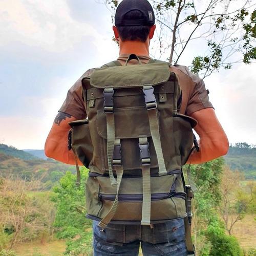 mochila padrão exército em lona militar super resistente